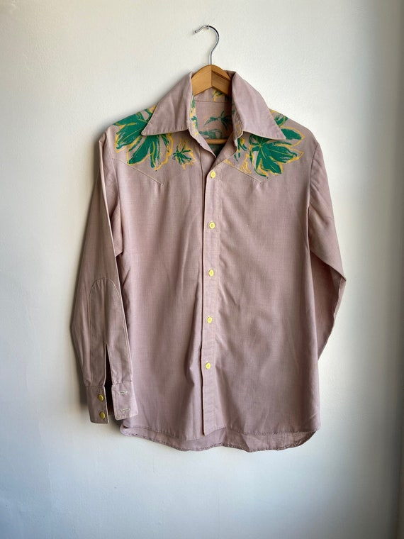 70s Hand-Painted Western Shirt Small