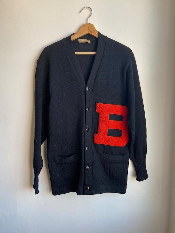 60s Black Varsity Cardigan Knit Sweater Medium