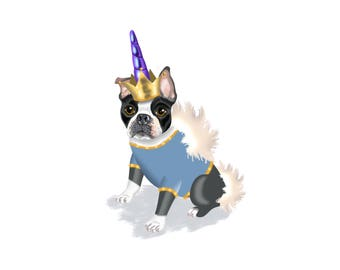 Boston Terrier in Unicorn Costume / Black, Gold, White / Printable instant download / Boston Terrier Print