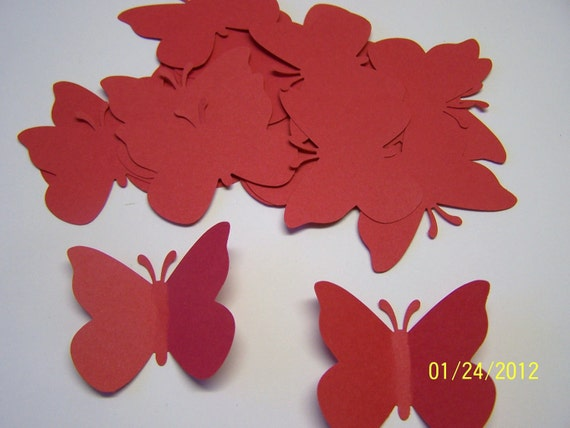 2 Inch Butterfly Baby Shower Large Butterfly Confetti Butterfly Cut Outs Birthday Wedding 50 Red Paper Butterfly Die Cuts