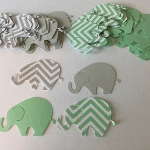 Elephant Theme Elephant Die Cut Elephant Baby Shower 100 Gray Chevron Aqua Elephant Confetti Elephant Cut Out
