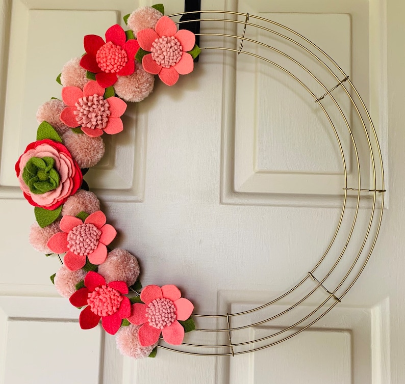 Custom Floral Wreath 18 Felt Flowers with Gold Wire