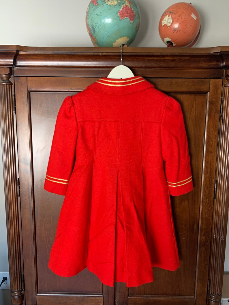 Vintage Freeway Fashions redgold wool blend young girls coat Size 5 Made in USA