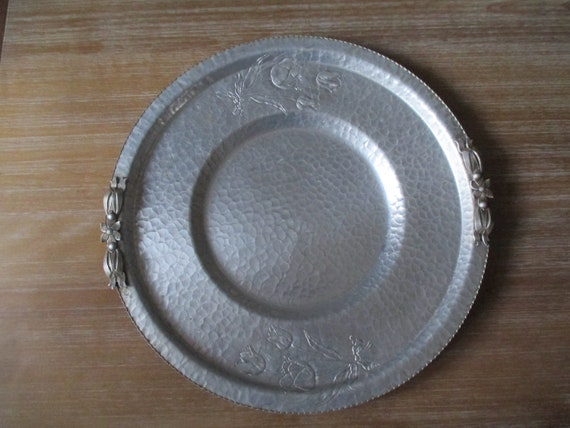 Hand Wrought Aluminum Serving Tray By Rodney Kent 414 Etsy