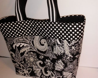 Tote bag, purse, Lunch Bag, Black & White Floral, Paisley Fabric Print * Lunch Bag * Women's Small Tote* Perfect for work or school