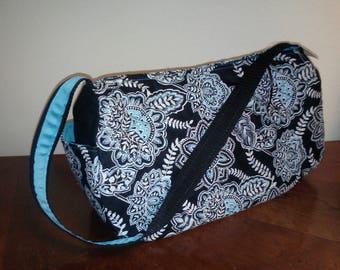 Quilted Fabric Zip-Top Shoulder Bag