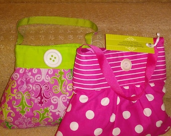 Girls Myra Handbag * Spring * Hot Pink, Polka Dot, Lime Green Filigree Purse