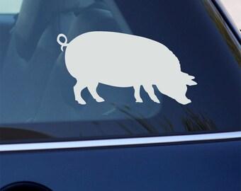 Pig Decal - Hog Sticker - For Car or Laptop - BLACK or WHITE