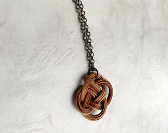 Antique Bronze and Woven Rattan Necklace, Rattan Necklace, Rattan and Bronze Necklace
