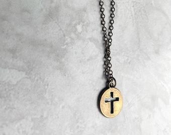 Antique Bronze Cross Necklace, Cross Necklace, Religious Necklace