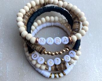 Gold Name Bracelet, Stackable Bracelet, Personalized Bracelet, Natural Wood Bracelet, Number Bracelet, Word Bracelet, Anniversary Bracelet
