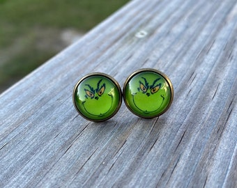 Grinch Stud Earrings with Antique Bronze or Stainless Setting - Christmas Stud