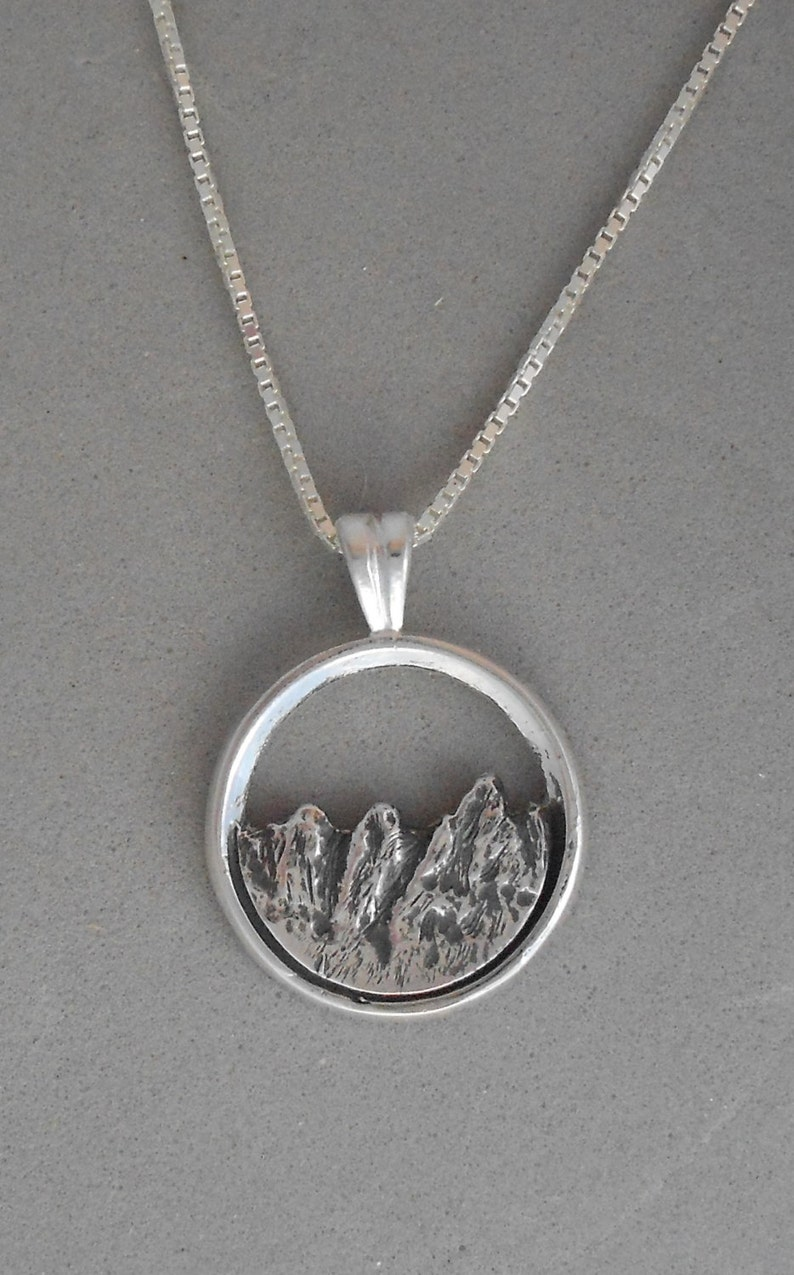 Tetons Mountain Necklace in Sterling Silver Great Gift for image 0