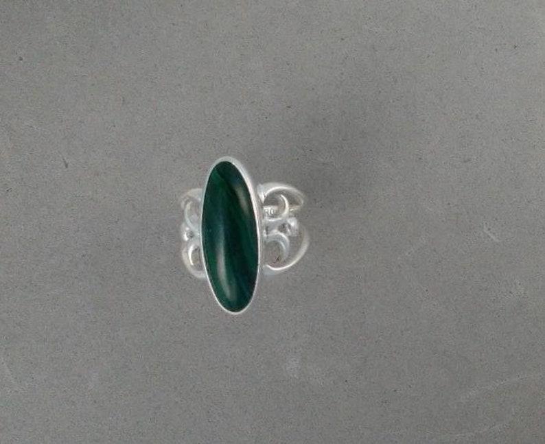 Malachite Swirly Ring with Narrow Stone  Genuine Malachite  image 0