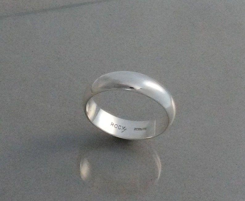 Sterling Silver  Band SIZE 5-8.5 Ring  6mm Mirror Finish  Low image 0