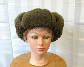c211da2af56 Vintage Shearling Fur Hat with Tie Up Ear Flaps Suede Sheepskin 1960s 1970  Brown Trapper 22 23 Inch Circumference
