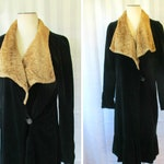 Vintage 1920s 1930s Coat Black Velvet Faux Fur Shawl Collar 38 Bust M Medium Cloak