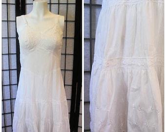 Vintage 1950s 1960s White Full Slip by Komar Cotton Sun Dress 34 35 Tiered Skirt Section M