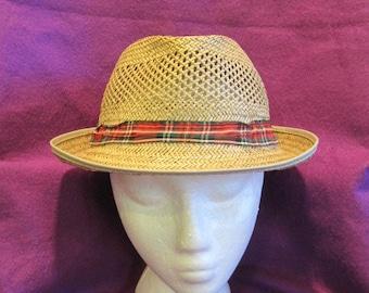 Vintage Straw Fedora Hat 1960s 1970s Beige Red Green White Tartan Plaid  Ribbon Rat Pack Lightweight MCM Fashion 01030c0d9ee