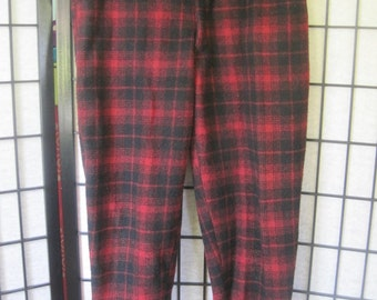 ec3b118dbcaeb Vintage Buffalo Plaid Wool Flannel Pants by Johnson Woolen Mills 1950s  1960s Red Black 38 Waist Trousers Lumber Jack Joggers