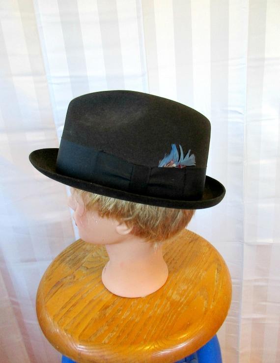 d1a12166ff27e Vintage Knox Hat Black Fedora 7 1 4 Felt Hat with Blue