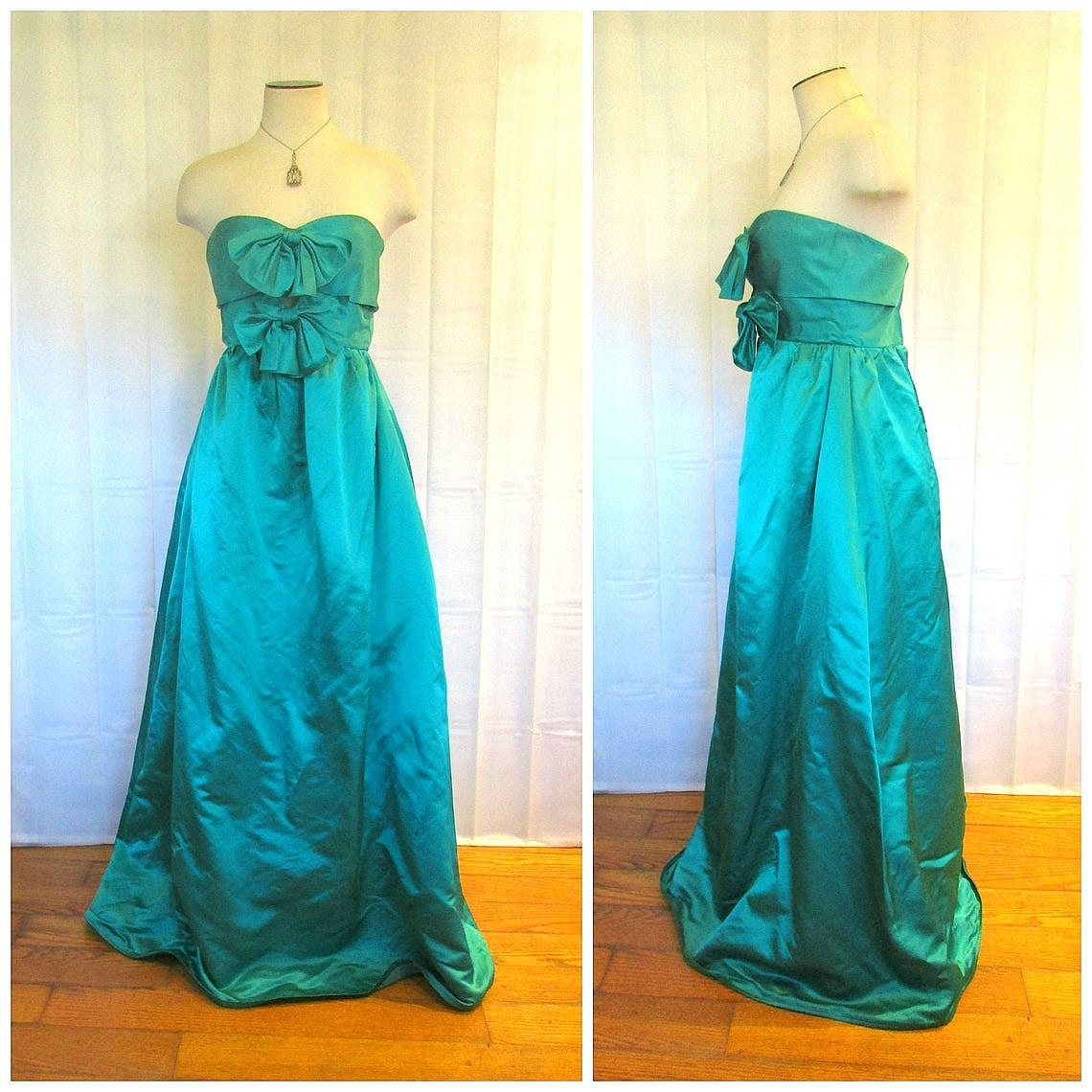 60s -70s Jewelry – Necklaces, Earrings, Rings, Bracelets Vintage Ball Gown 1950S 1960S Strapless Frock Emerald Green Satin Formal Gala Maxi Dress 30 Bust Xs S Princess Party Maxidress With Bows $240.00 AT vintagedancer.com