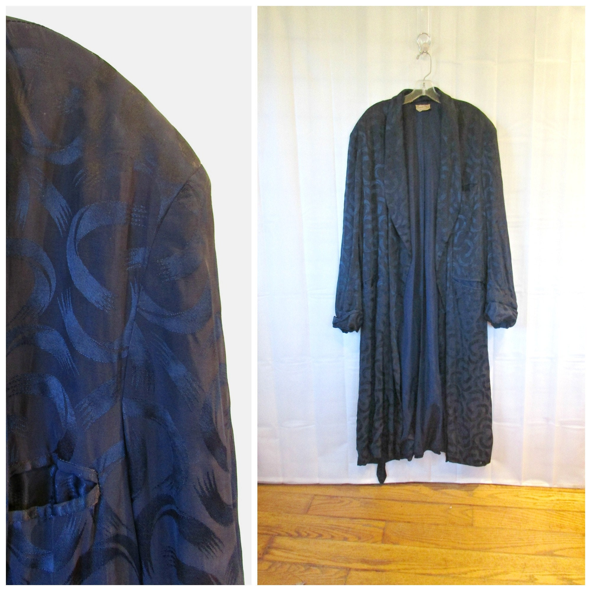 1940s Mens Ties | Wide Ties & Painted Ties Vintage Satin Robe 1930S 1940S Navy Blue Mens Loungewear Deco Design Shawl Collar Town N Surf Bathrobe 54 Chest Xl Extra Large $45.00 AT vintagedancer.com