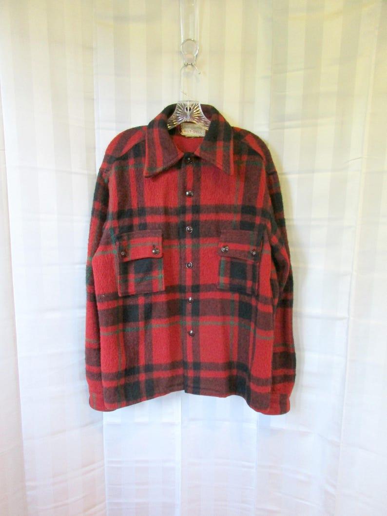 32e4d01edf4 Vintage Plaid Jacket 1950s Bilt Well Wool Shirt Red Black
