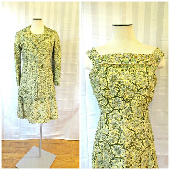 Vintage Silk Dress Suit with Matching Jacket by Ti