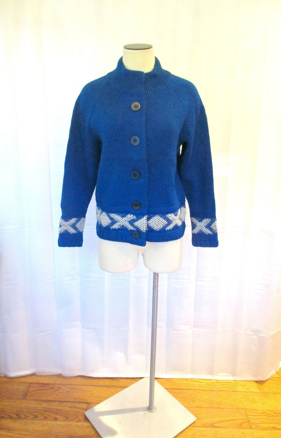 Vintage 1970s Cardigan by Catalina Royal Blue and