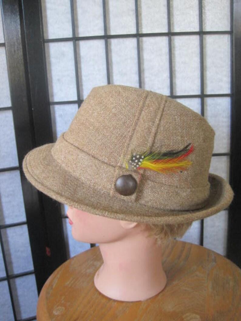 b367746590543b Vintage Wool Tweed Hat Fedora Light Brown Taupe Beige 7-1/8 | Etsy
