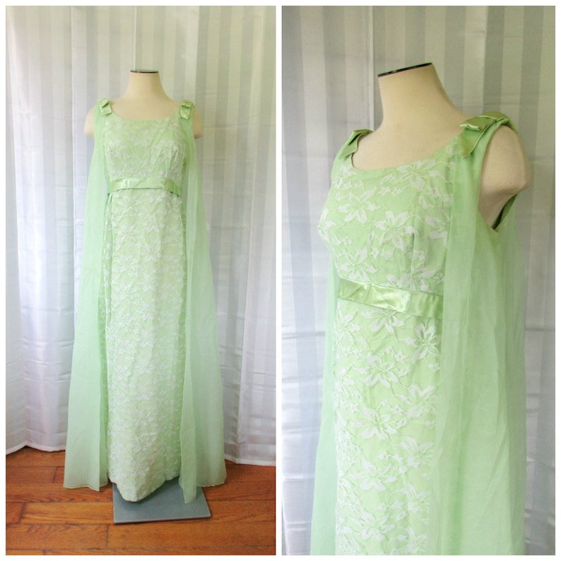 0cccdab1be5c0 Vintage Seafoam Green Gown Formal Lace Mint Maxi Dress 1960s | Etsy