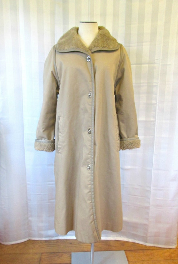 Vintage Bonnie Cashin Coat 1960s 1970s Taupe Light