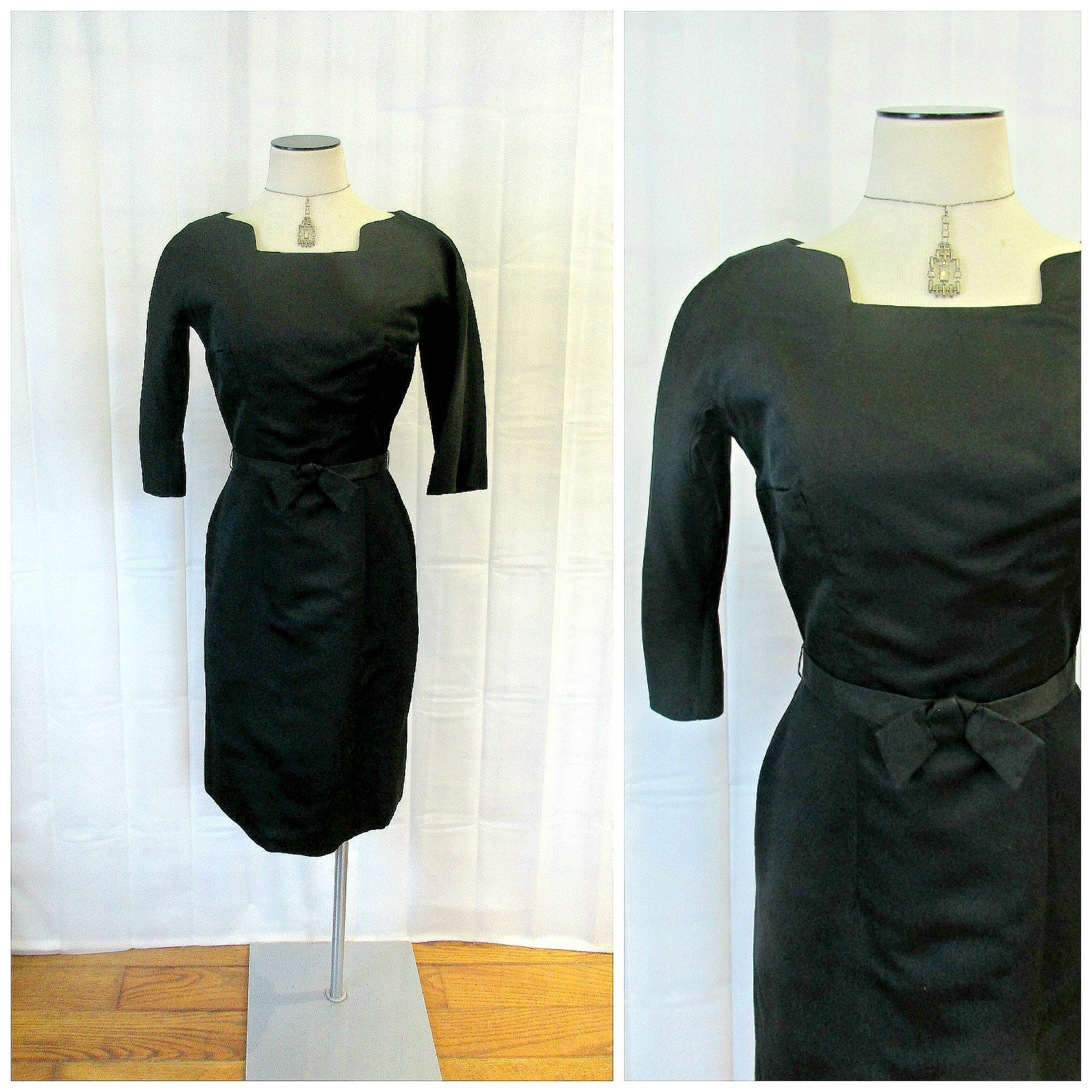60s -70s Jewelry – Necklaces, Earrings, Rings, Bracelets Vintage Suzy Perette Dress Black 1950S 1960S Frock 34 Bust Bow Belt Cocktail Party New Look lbd 24-12 Inch Waist S M Hourglass $158.00 AT vintagedancer.com