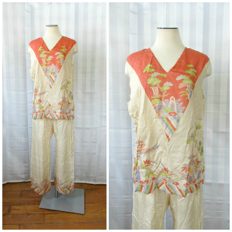 Vintage Pongee Silk Pajamas c. 1920s 1930s Made in Japan  fe344c253