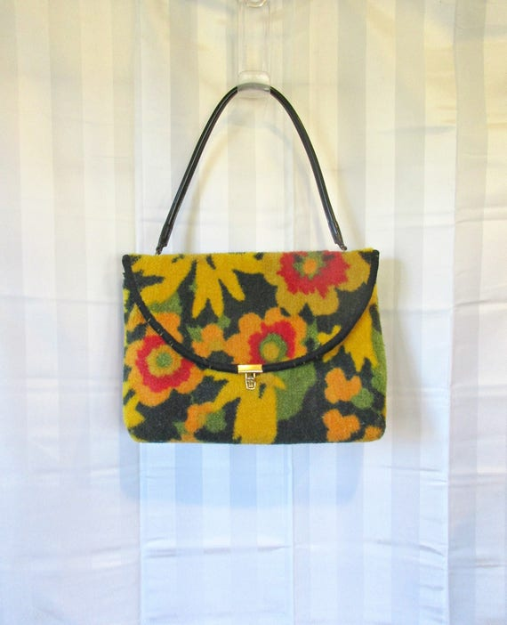 Vintage Mod Purse Floral Tapestry 1960s 1970s Hand