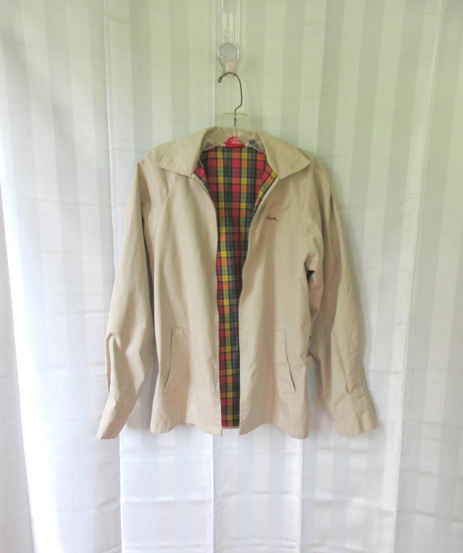 6aa27f54c Vintage Izod Lacoste Alligator Jacket Plaid Lined Cloth Beige