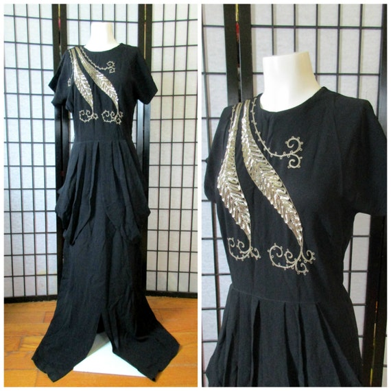 Vintage 1930s 1940s Dress Black Crepe Long Maxi Si
