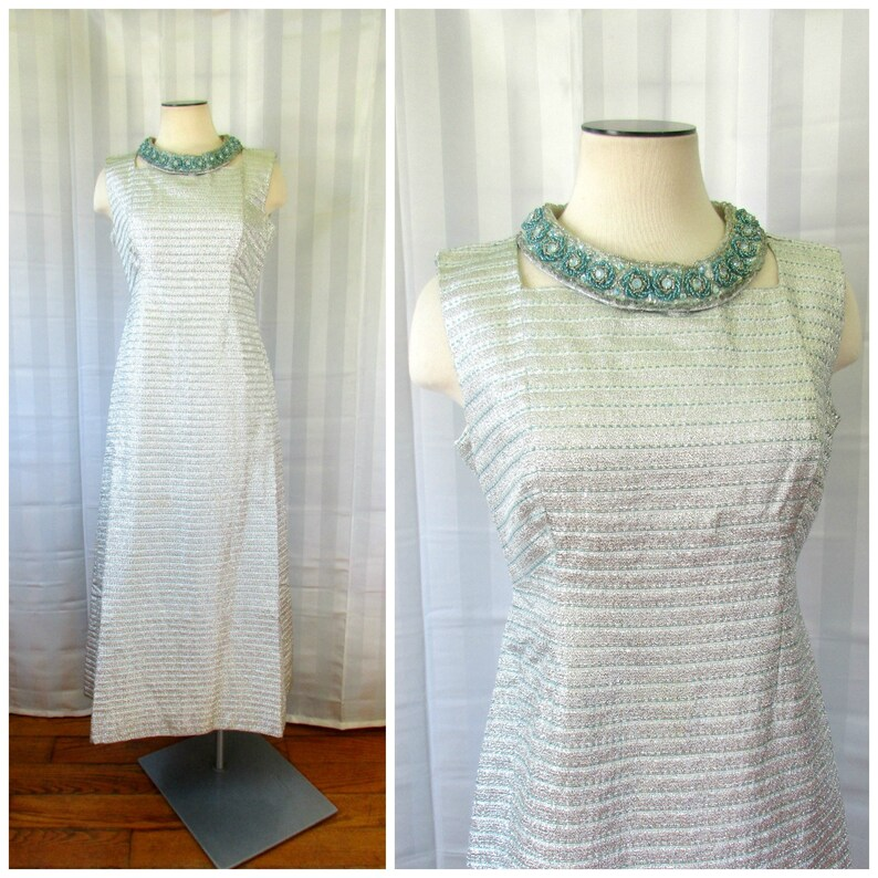 31f673c08b6 Vintage Evening Gown Silver Lame Turquoise Blue Beading