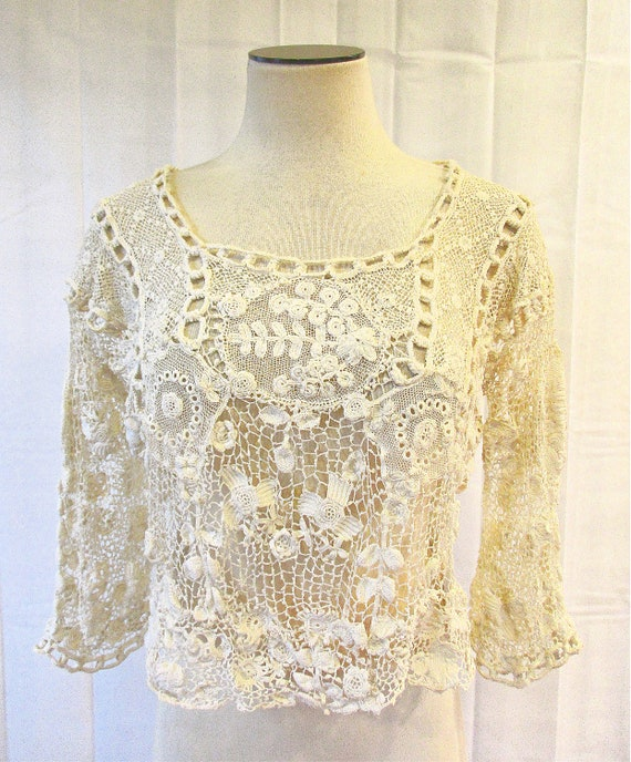 Vintage 1910/'s Blouse Edwardian White Blouse with Crochet 40 Bust