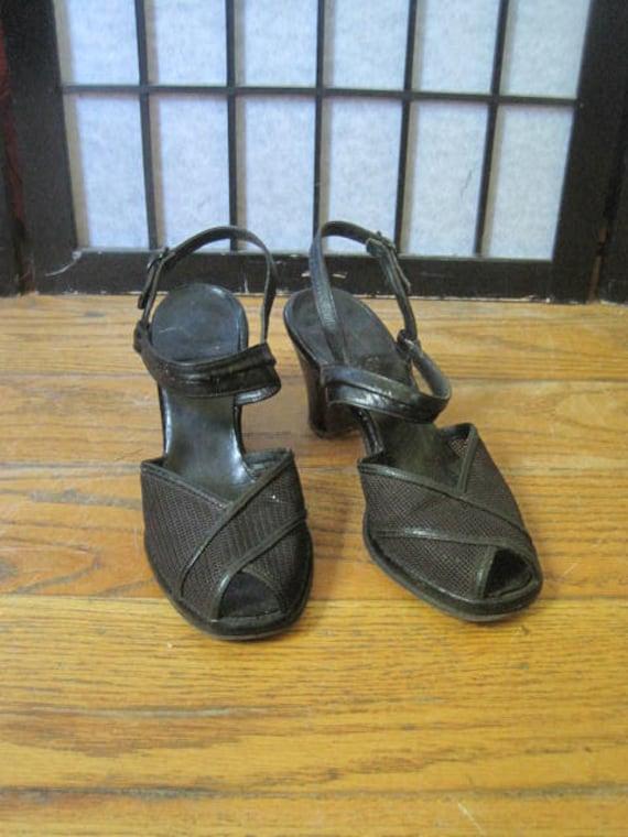 1940s Handbags and Purses History Vintage 1940S Shoes Pumps Black Woven Mesh  Leather 6 M Peep Toe Slingback Shoe Womens Sandals Summer Spring Sandal $80.00 AT vintagedancer.com