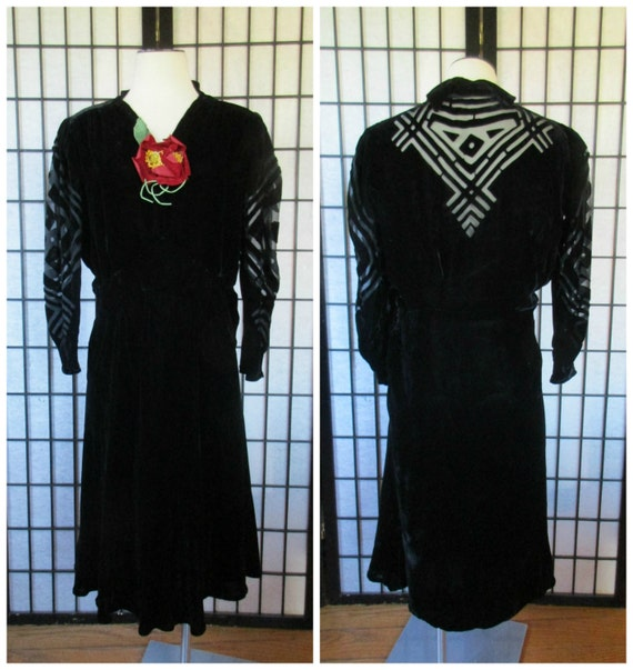 Vintage 1930s Dress Black Silk Velvet Burnout Art