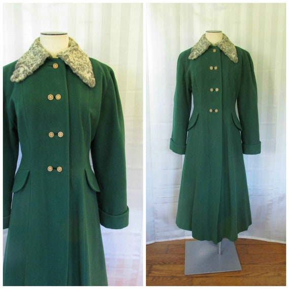 Vintage 1940s Princess Coat Green Wool with Persia