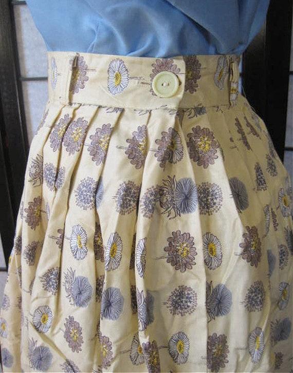 Vintage 50s full skirt Vintage aqua white stripe cotton pleated skirt 1950s cotton full circle skirt