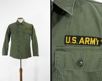 a407628f986 Vintage 50s US Army Shirt Utility Fatigues Military Olive Drab Sateen - Size  Medium