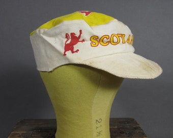 bd8ecb197c5 Vintage 50s Painter s Hat Scotland Work Cap Elastic Scottish Lion Small    Medium