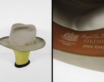 52172901a8384e Vintage 50s Stetson Open Road Hat Royal DeLuxe Fedora Thin Ribbon - Size 7