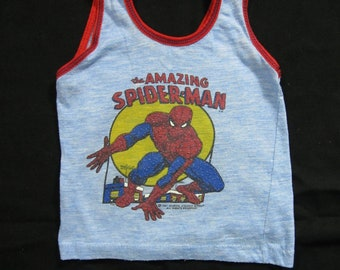 baf7222463b Vintage Spiderman Tank Top Kid s Marvel Comics Blue 80s Shirt - Size 5-6