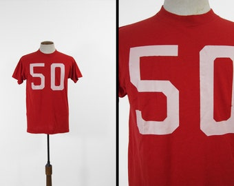 Vintage 50 Red T-shirt Sports Jersey 1980s Soft Tee Made in USA - Large 35a24bab0