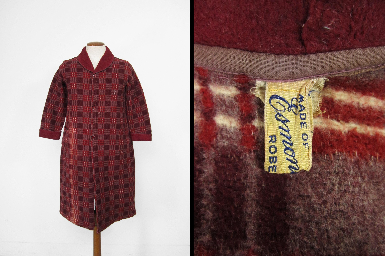 1940s Mens Ties | Wide Ties & Painted Ties Vintage 40S Esmond Blanket Robe Burgundy Soft Plaid Button Up - Size SmallMedium $61.95 AT vintagedancer.com